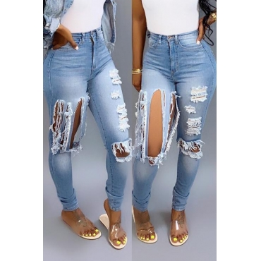 Lovely Casual High Waist Broken Holes Light Blue Jeans