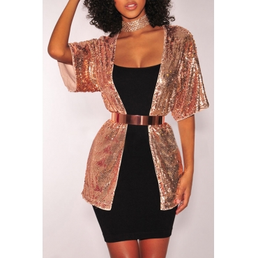 Lovely Casual Sequin Decoration Gold Jacket(Without Belt)