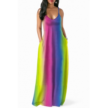 Lovely Casual Tie-dye Floor Length Dress(With Elastic)