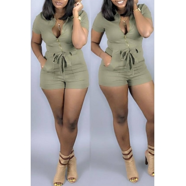 Lovely Casual Zipper Design Light Green One-piece Romper(With Elastic)