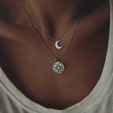Lovely Bohemian Multilayer Silver Necklace