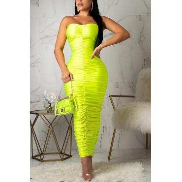 6fe8e4a7dc5 28 Lovely Sexy Sleeveless Ruffle Green Ankle Length Dress
