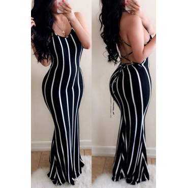 Lovely Casual Striped Backless Black Floor Length Dress