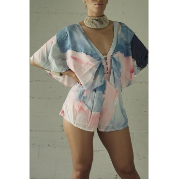 Lovely Bohemian Printed Backless Light Pink Loose One-piece Romper