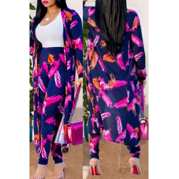 Lovely Feather Printed Blue Two-piece Pants Set