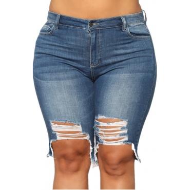 Lovely Trendy Broken Holes Dark Blue Jeans