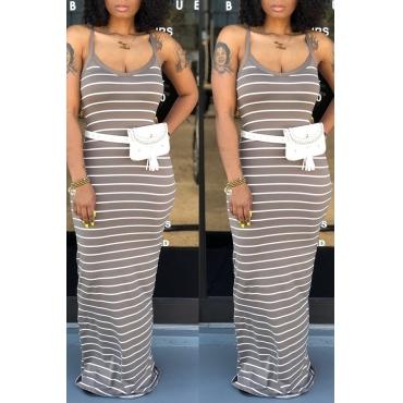 Lovely Casual Striped Grey Floor Length Dress