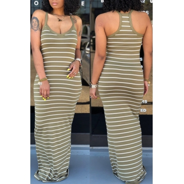 Lovely Casual Striped Army Green Floor Length Dress
