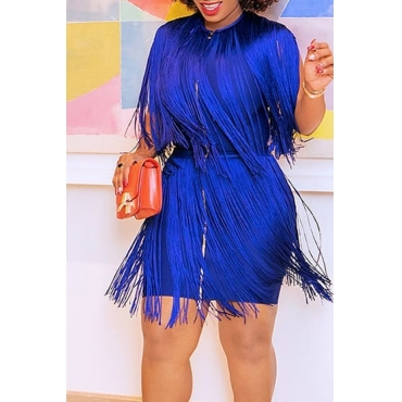 Lovely Trendy Tassel Design Blue Mini  Dress