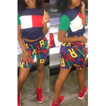 Lovely Leisure Letter Printed Patchwork Two-piece Shorts Set