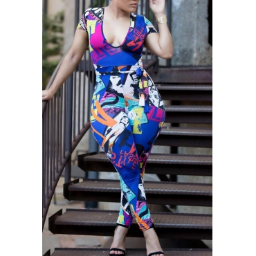 Lovely Trendy Printed Skinny Blue One-piece Jumpsuit
