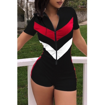 Lovely Casual Zipper Design Patchwork One-piece Romper