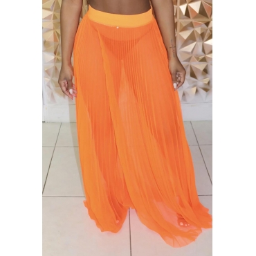 Lovely Sexy Orange Floor Length A Line Skirt(Without Underwear)