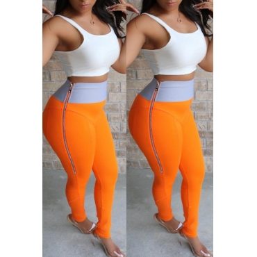 Lovely Casual High Waist Zipper Design Orange Pants