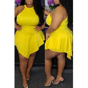 Lovely Sexy Asymmetrical Yellow Plus size Romper
