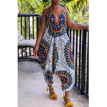 Lovely Casual Totem Printed White Loose One-piece Jumpsuit