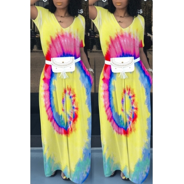 Lovely Casual V Neck Printed Yellow Floor Length Dress(Without Waist Pack)