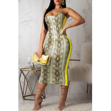 Lovely Chic Off The Shoulder Snakeskin Pattern Yellow Dress