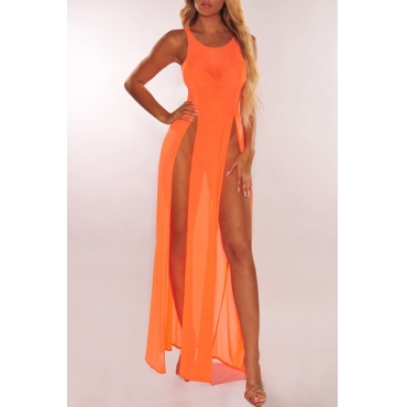 Lovely Sexy Orange See-though High Split Cover-Ups(Without Lining)
