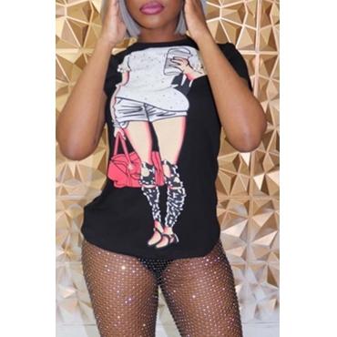 Lovely Chic Printed Black T-shirt