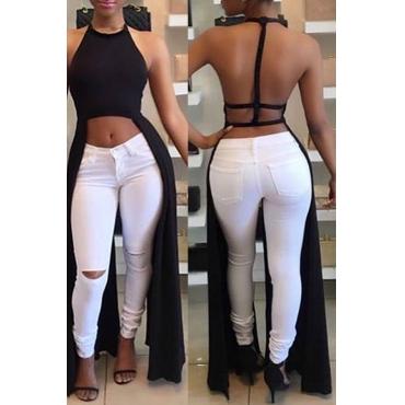 Lovely Sexy Backless Asymmetrical Black Blouse