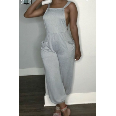 Lovely Casual Backless Grey One-piece Jumpsuit