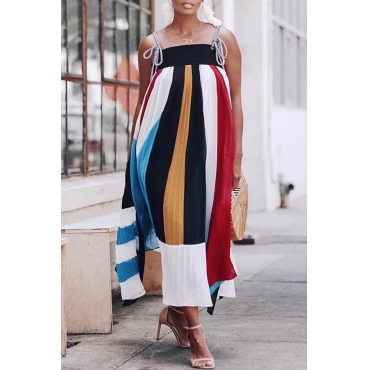 Lovely Casual Spaghetti Strap  Striped Ankle Length Dress