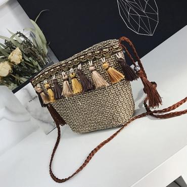 Lovely Stylish Tassel Design Gold Crossbody Bag