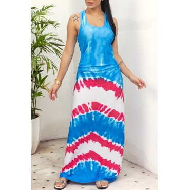 Lovely Casual O Neck Printed Blue Floor Length Dress