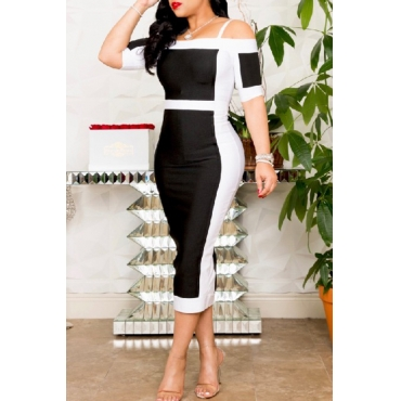 Lovely Work Spaghetti Straps Patchwork Black-white Mid Calf Dress