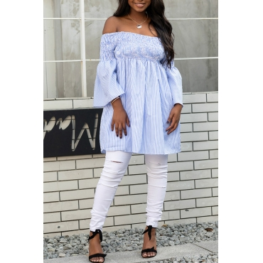 Lovely Stylish Off The Shoulder Drape Design White Blouse