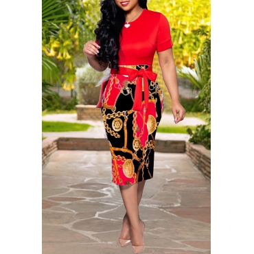 Lovely Stylish O Neck Printed Patchwork Red Knee Length Dress