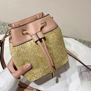 Lovely Casual Weaving Design Light Pink Crossbody Bag