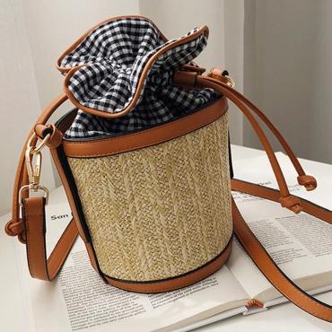 Lovely Casual Weaving Design Plaid Brown Crossbody Bag