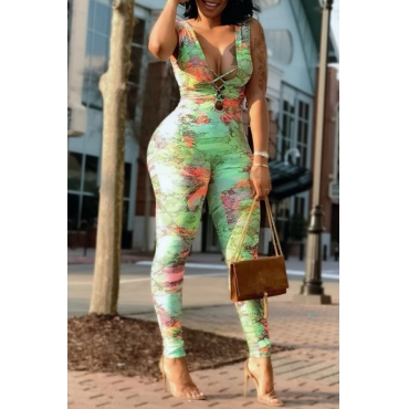Lovely Sexy Deep V Neck Printed Green One-piece Jumpsuit