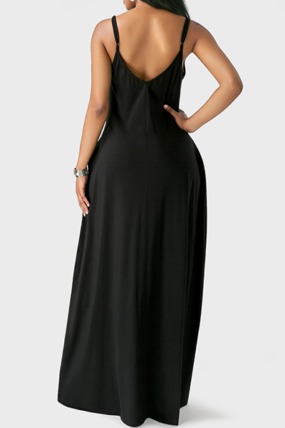 Lovely Casual V Neck Asymmetrical Black Blending Floor Length Dress