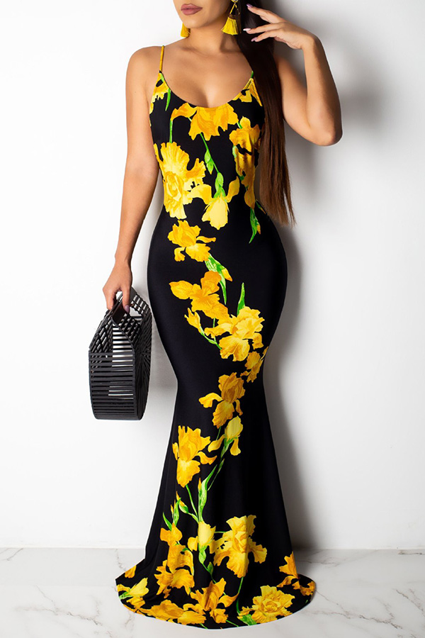 Lovely Sexy Spaghetti Strap Backless Floral Printed Yellow Floor Length Dress