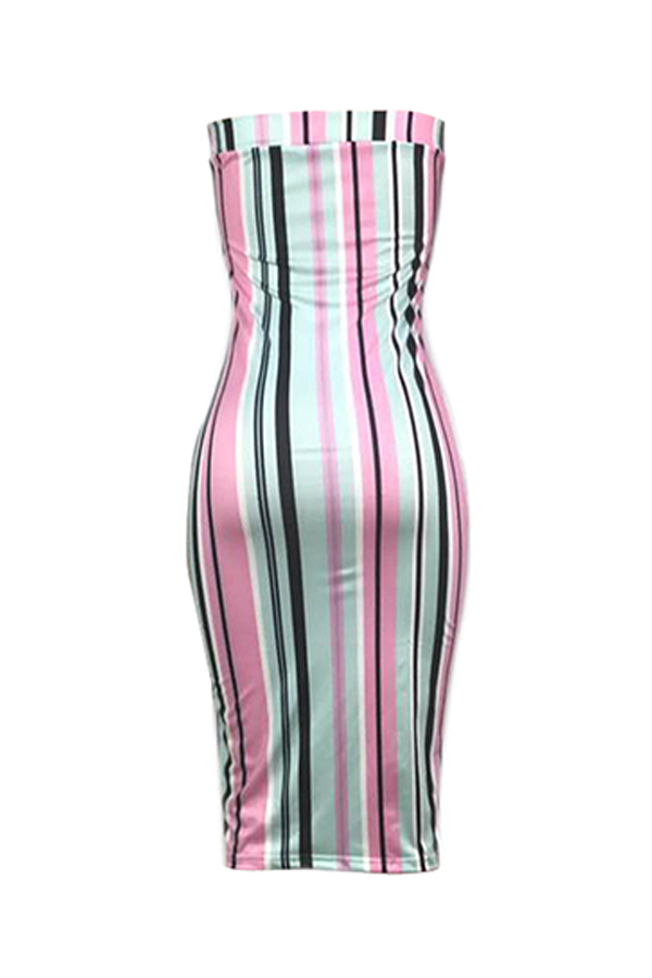 lovelywholesale / Lovely Casual Off The Shoulder Striped Knee Length A Line Dress