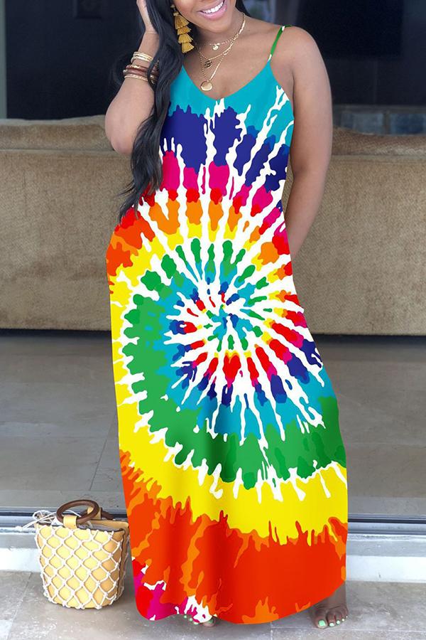 Lovely Leisure Spaghetti Strap Printed Floor Length Dress