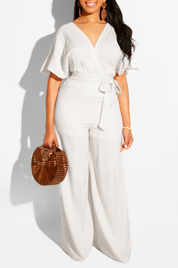 Lovely Work V Neck Lace-up White One-piece Loose Jumpsuit