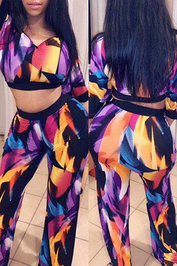 Lovely Casual V Neck Printed Two-piece Pants Set