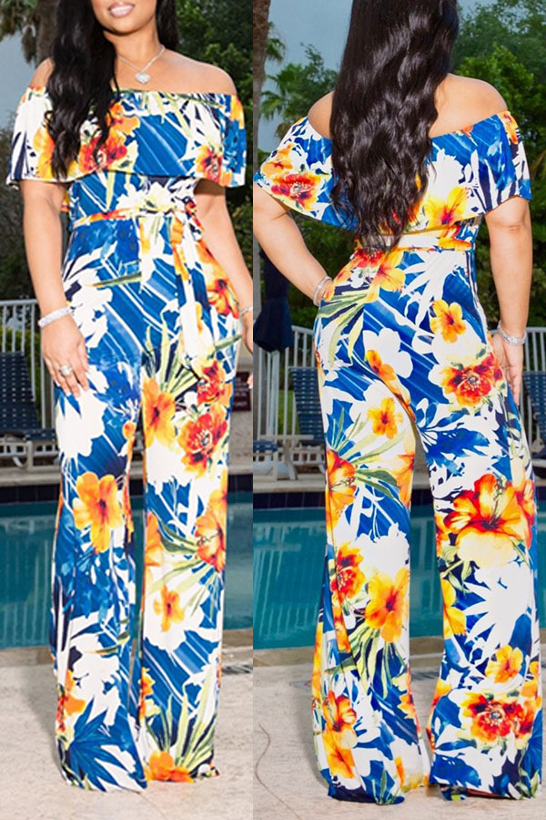 Lovely Stylish Floral Printed Yellow One-piece Jumpsuit