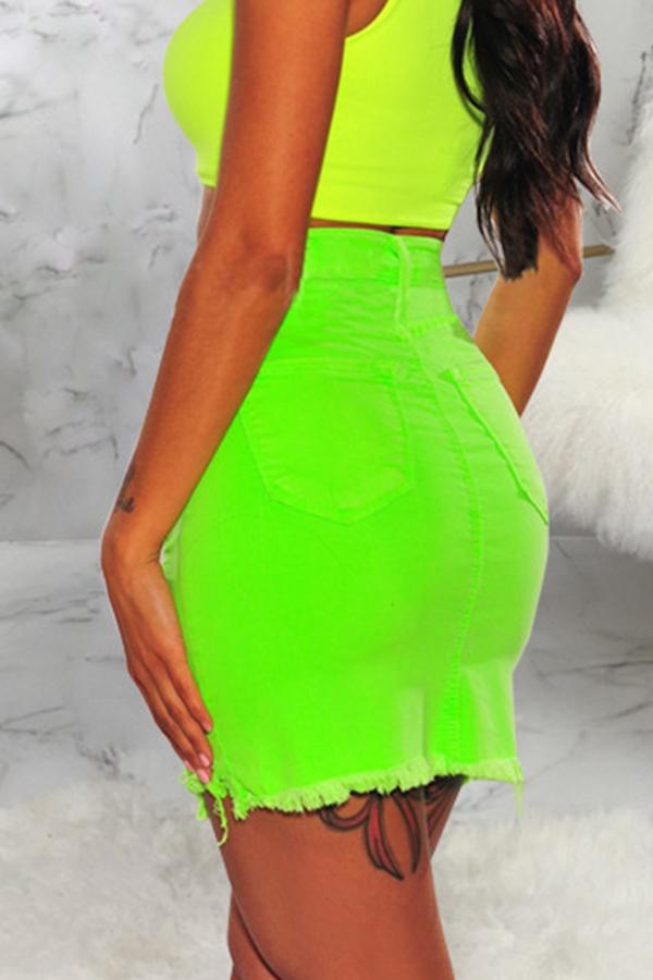 Lovely Casual High Waist Broken Holes Green Denim Knee Length A Line Skirt