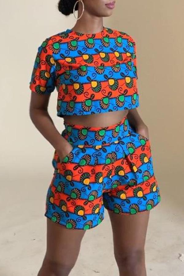 Lovely Stylish O Neck Short Sleeve Printed Two-piece Shorts Set