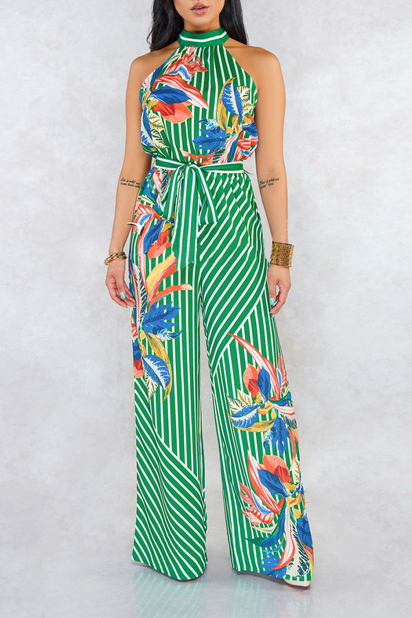 Lovely Stylish Halter Neck Striped Printed Green One-piece Jumpsuit
