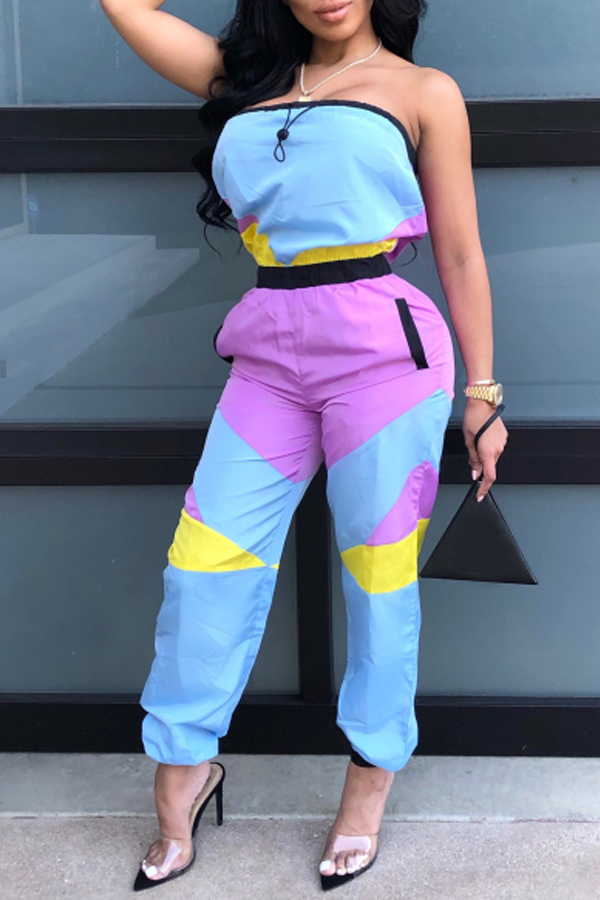 Lovely Casual Patchwork Baby Blue One-piece Jumpsuit