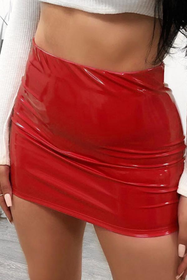 Lovely Trendy Skinny Straight Red Mini Skirts