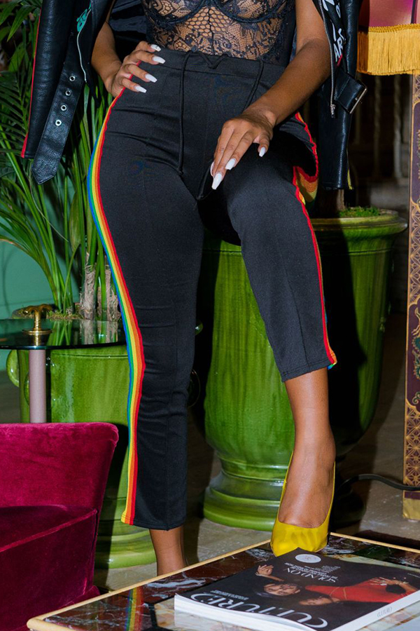 Lovely Casual Patchwork Black Pants