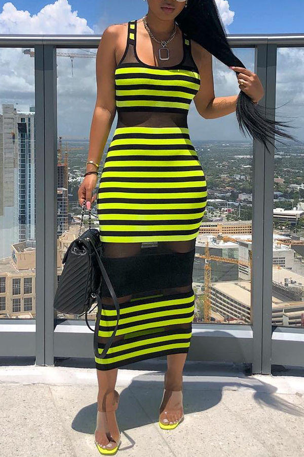 Lovely Chic Striped See-through Green Mid Calf Dress