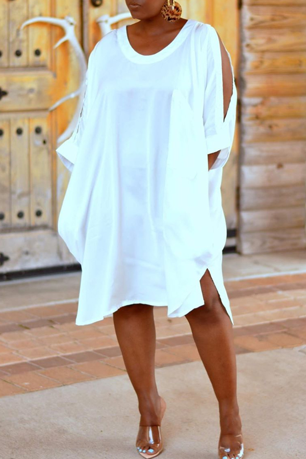 Lovely Casual Hollow-out White Mini Dress